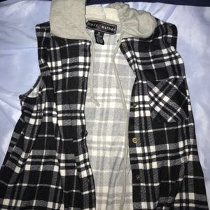 Hooded Flannel Tank top